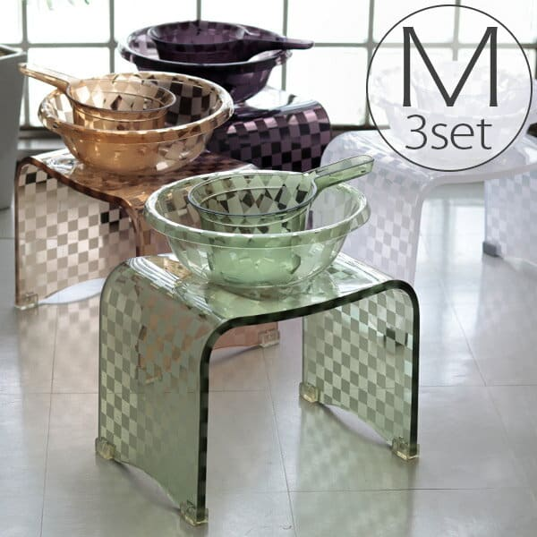 バスチェアM&洗面器M&手桶「チェッカー」3点セット