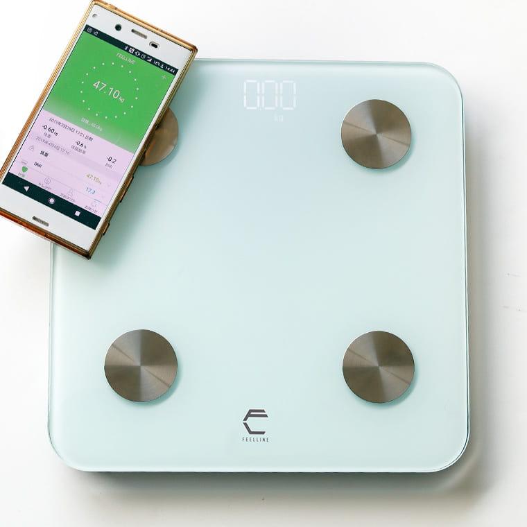 体重計 スマホ連動 体組成計 身体測定器 「FEELLINE(フィールライン)ATW」体重体組成計