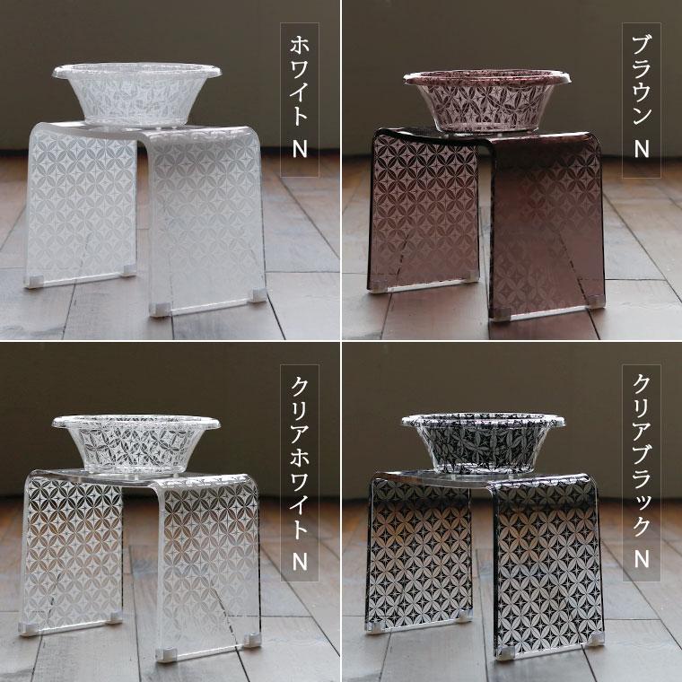 アクリル バスチェア&洗面器 セット
