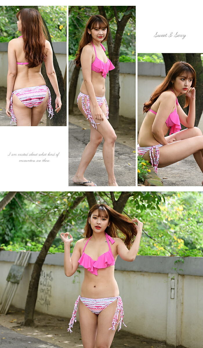 511249a0dcb19 The black pink white blue swimsuit coordinates that lower distinction has a  cute in 2018 new work swimsuit bikini Lady s frill bra fringe shorts S M L  ...