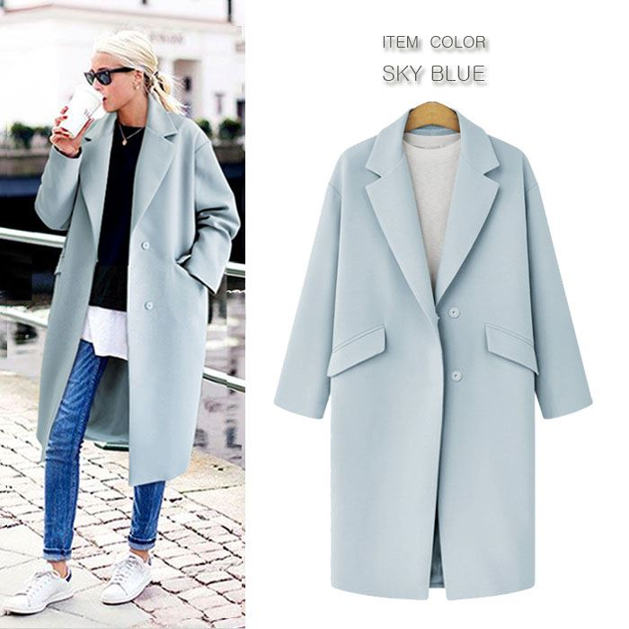 Long Coat Design | Bee Es Shop Pastel Color Over Fitting Wide Tailored Coat Chester