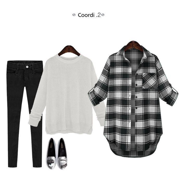 6a3affa0 ... [M flight 10/10] • Tartan pattern flannel shirt long sleeve roll-up  back print block check round hem long short autumn/winter women's [M flight  10/10]