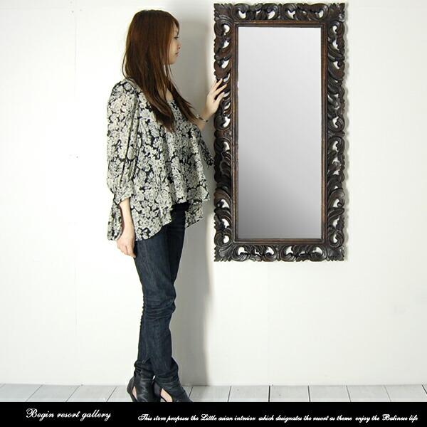 亞洲鏡像蔓藤花紋): 古董鏡子 120 厘米圖片
