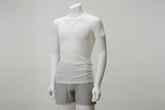 竹布テレコ・Vネックシャツ
