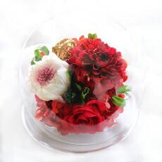 ダリアと輪菊のガラスドームL