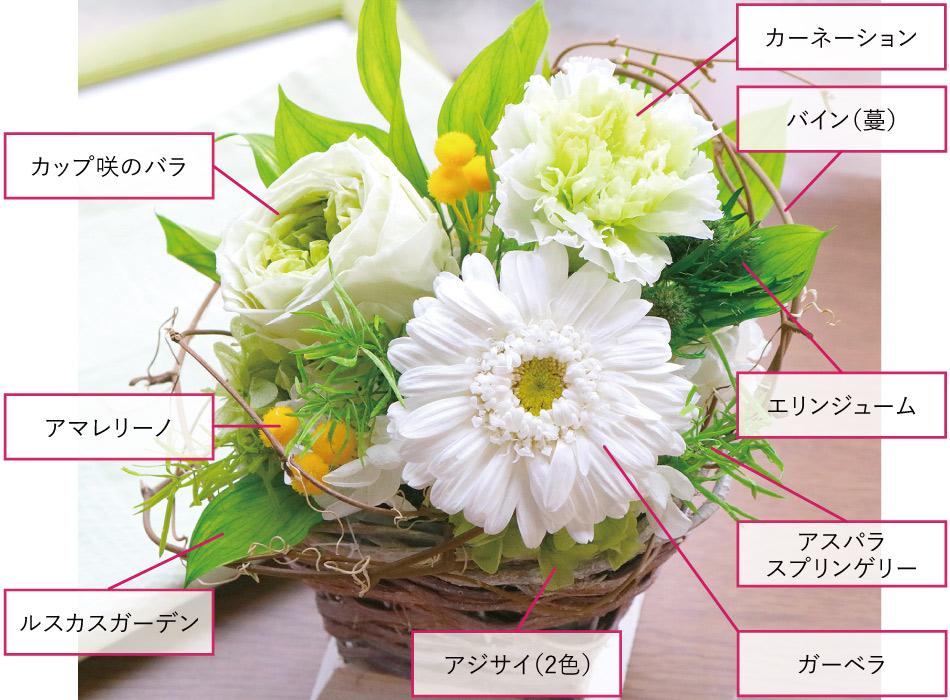 ガーベラバスケット 花材の画像