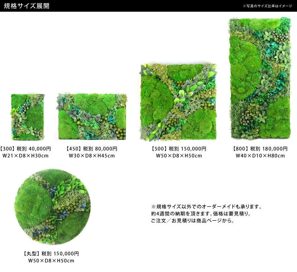 苔のグリーンウォールシリーズサイズ一覧