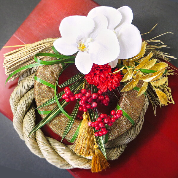 芍薬胡蝶蘭と南天