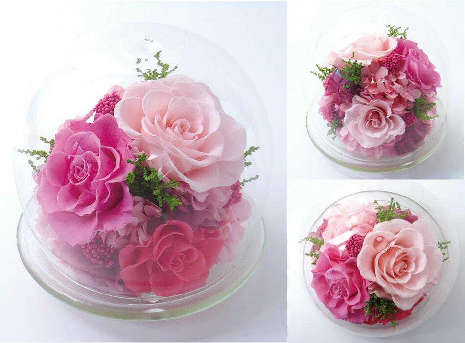 ガラスドームL ピンクの画像