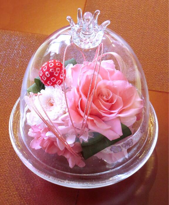 和風ガラスドーム ピンクの画像