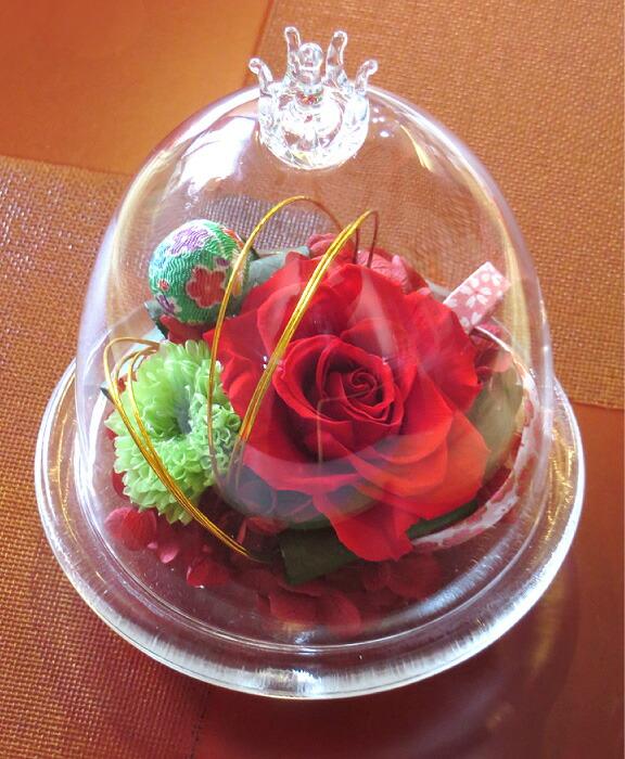 和風ガラスドーム レッドの画像