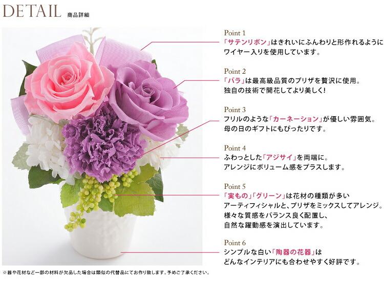 バラとリボンのアレンジメント ディティール画像