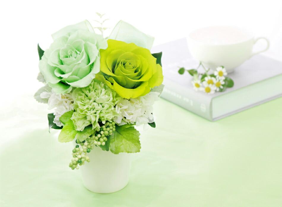 バラとリボンのアレンジメント グリーンの画像