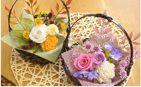プリザーブドフラワー 四季の花かご