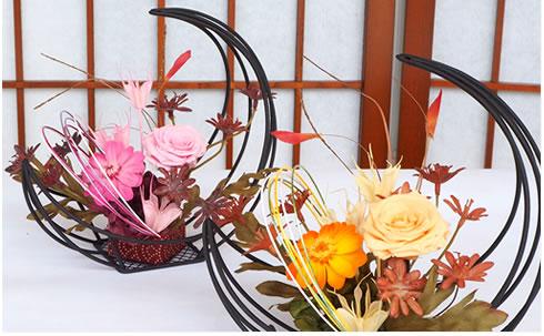 プリザーブドフラワー 三日月花かご