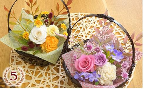 和風 プリザーブドフラワー 四季の花かご