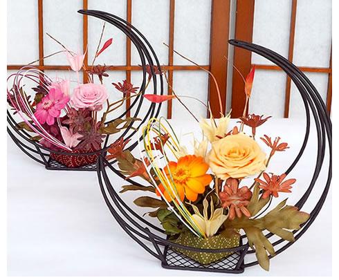 和風プリザーブドフラワー 三日月花かご
