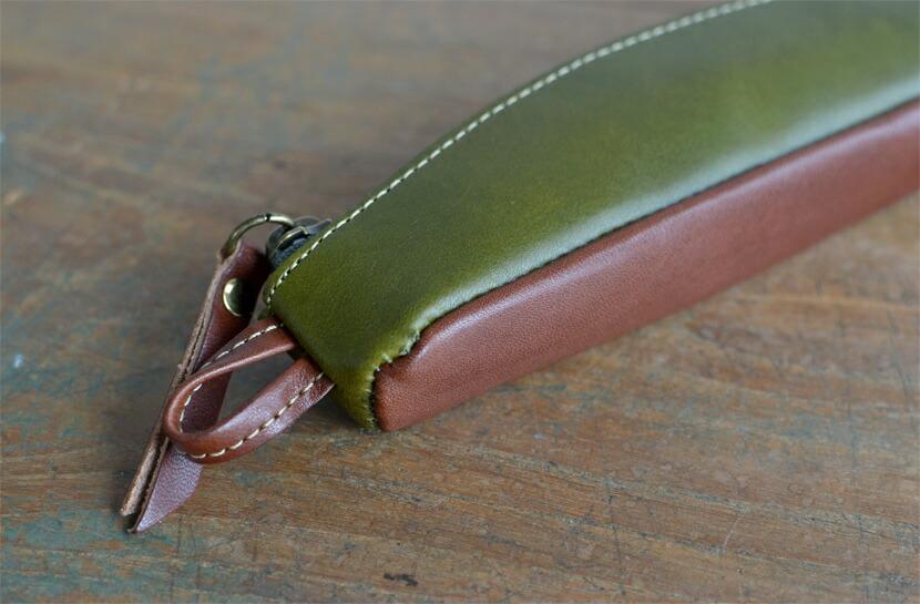 BL-PT-0056 長財布 オリーブ×チョコ