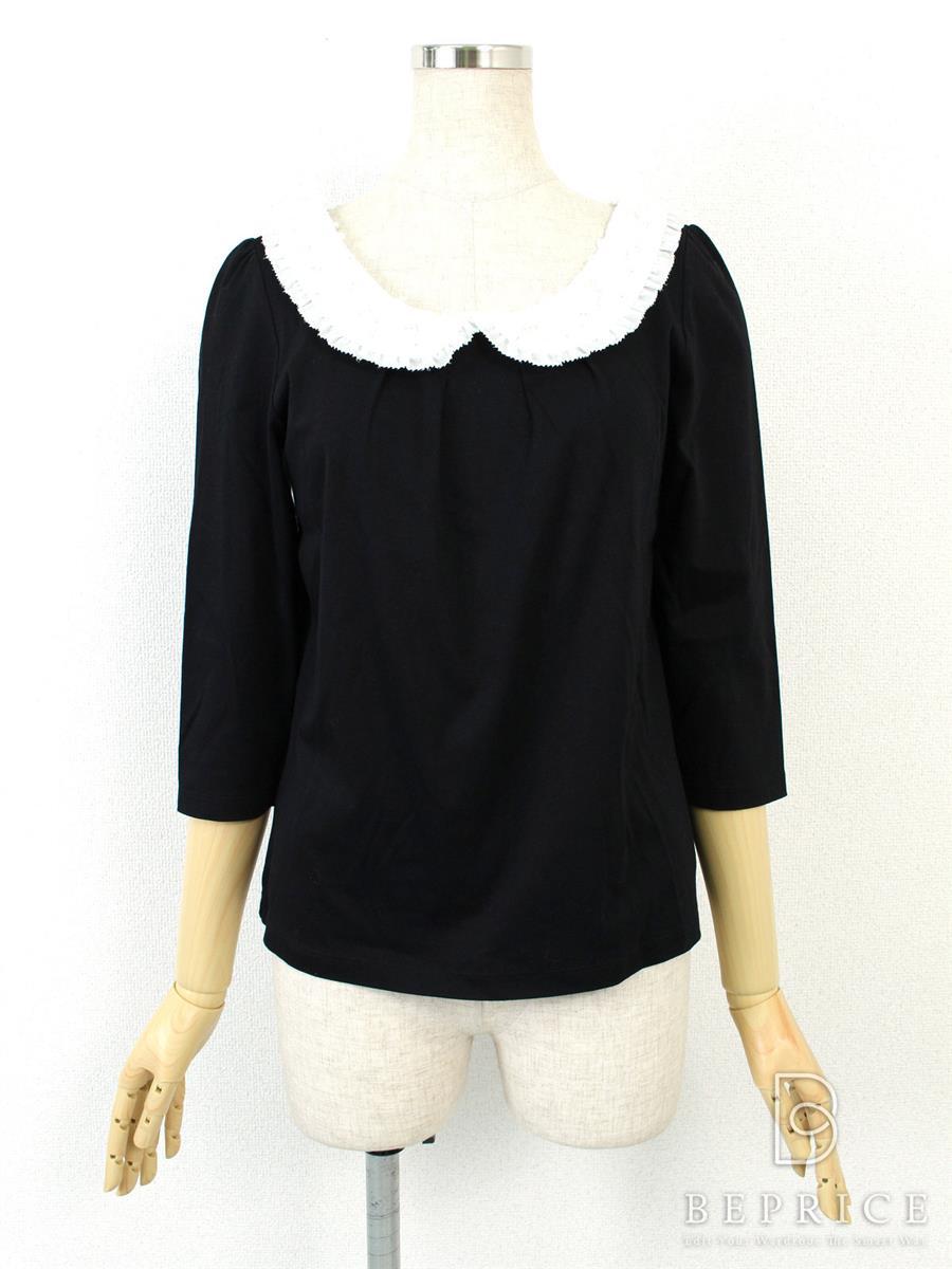 トゥービーシック カットソー トップス 長袖 衿ビジュー ブラック