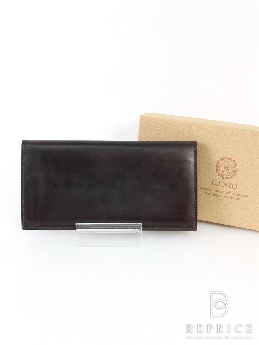 ガンゾ 二つ折り長財布 コードバン