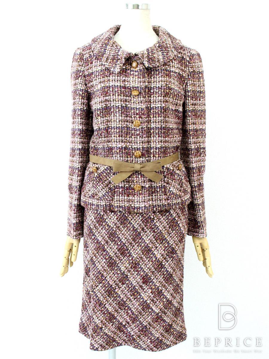 フランコフェラーロ スカートスーツ ツイード
