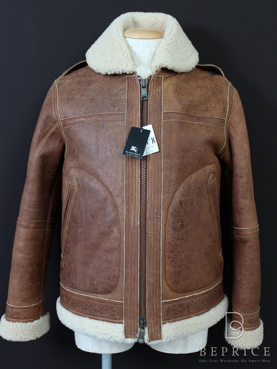 バーバリーブラックレーベル ジャケット 羊革 レザー ボア