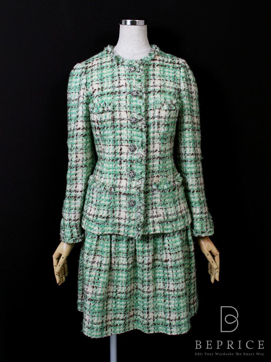 エムズグレイシー スカートスーツ スーツスカート ジャケット チェック柄