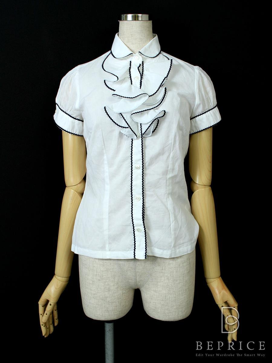 ナラカミーチェ シャツ ブラウス 【NARACAMICIE/ナラカミーチェ】トップス 半袖 胸元フリル