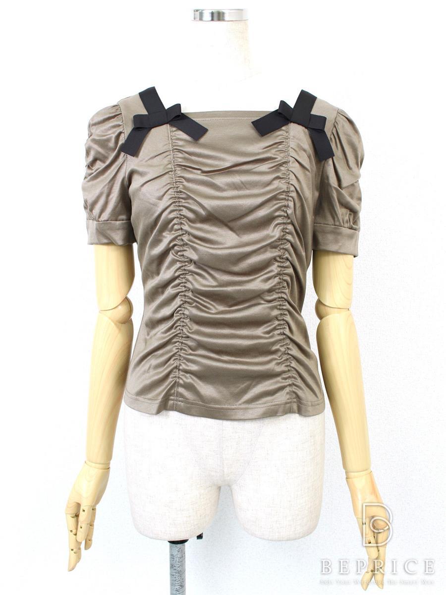 エムズグレイシー Tシャツ カットソー トップス 半袖 肩リボン
