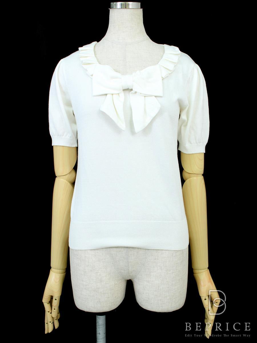 エムズグレイシー Tシャツ カットソー トップス 半袖 胸リボン 薄変色あり