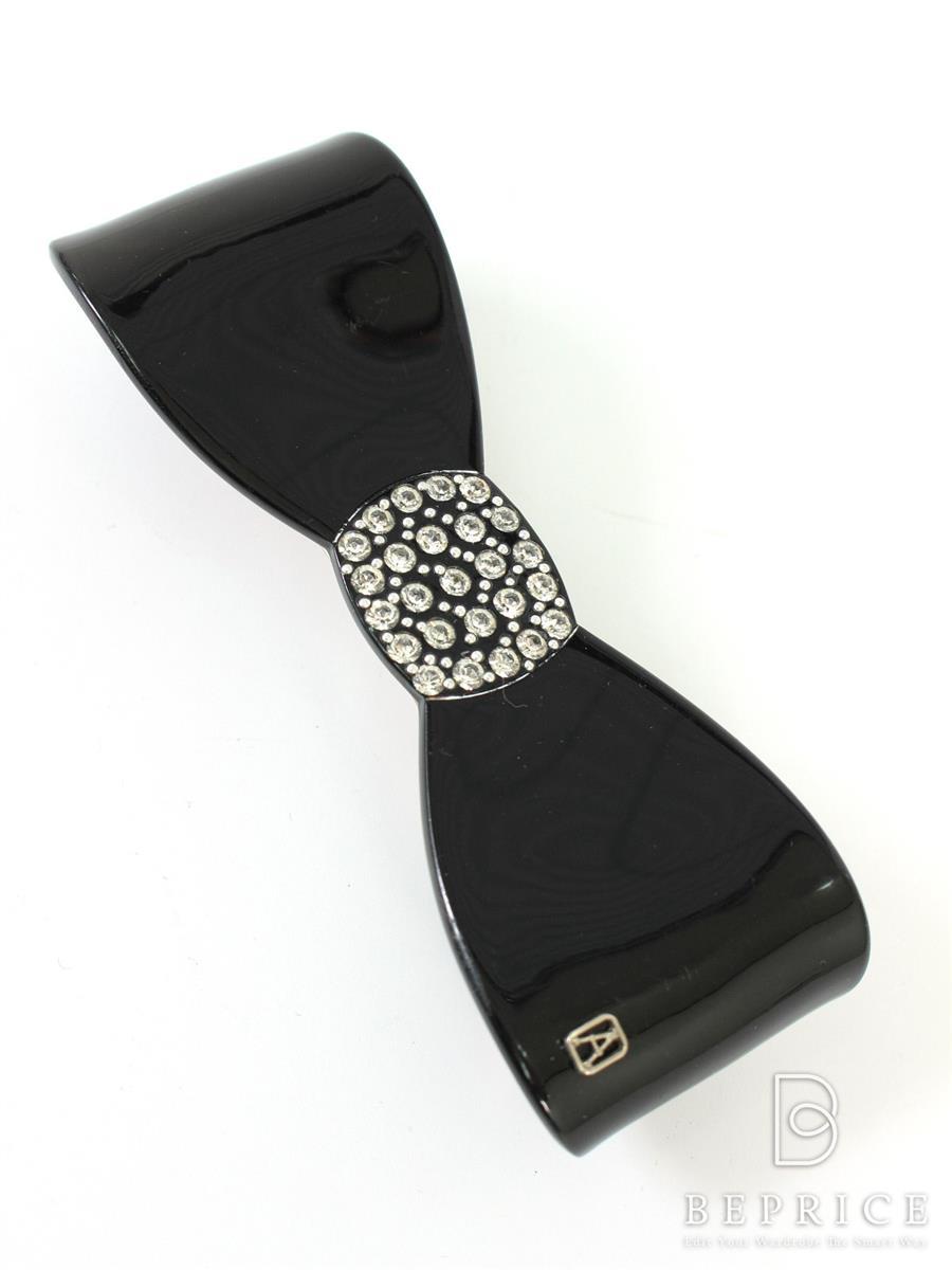 アレクサンドルドゥパリ バレッタ ヘアクリップ バレッタ リボン ラインストーン 刻印薄れあり
