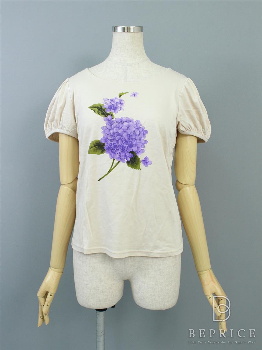 エムズグレイシー Tシャツ カットソー トップス 半袖 紫陽花柄