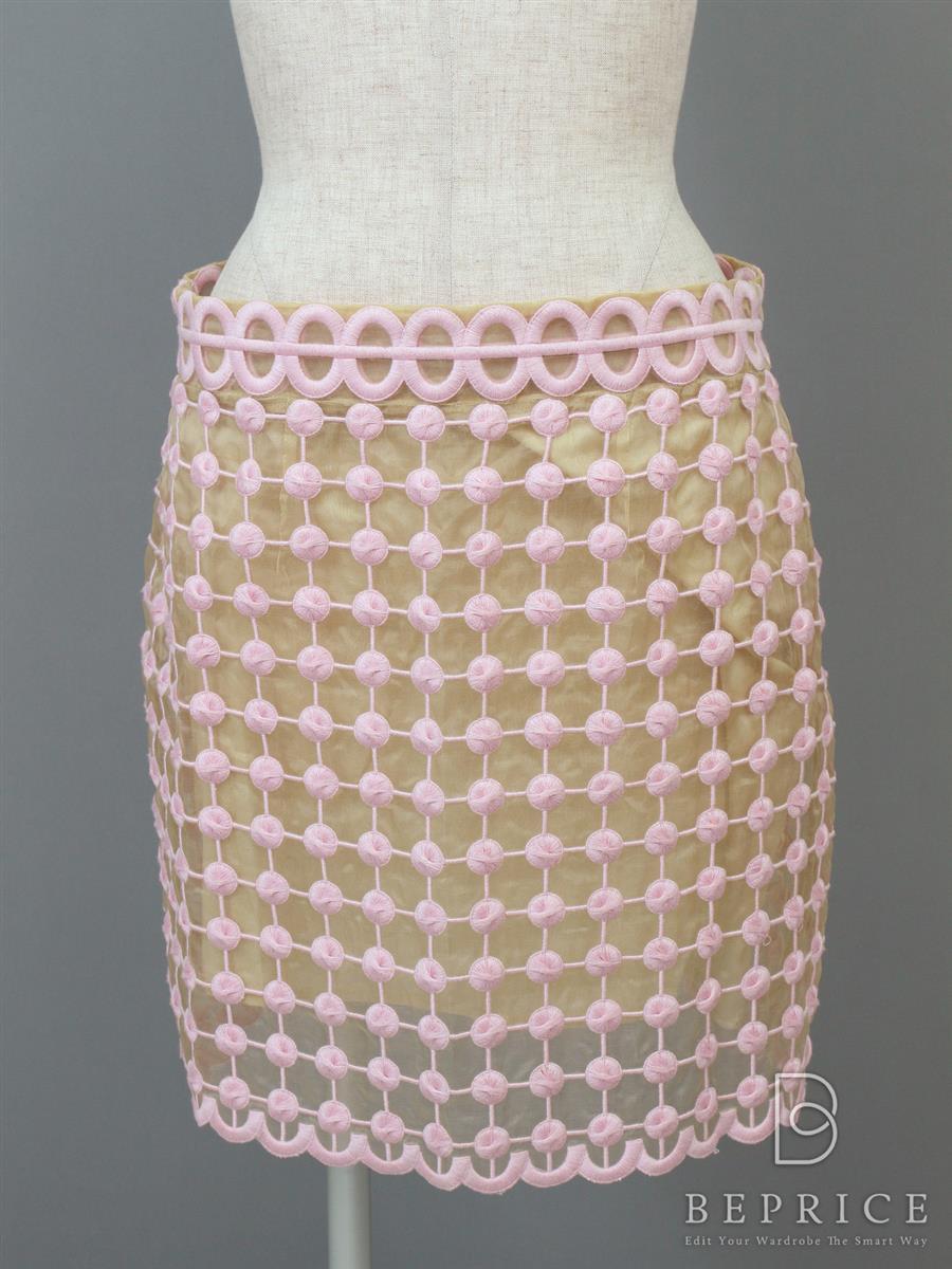 レッドヴァレンティノ スカート スカート 刺繍 オーガンジー