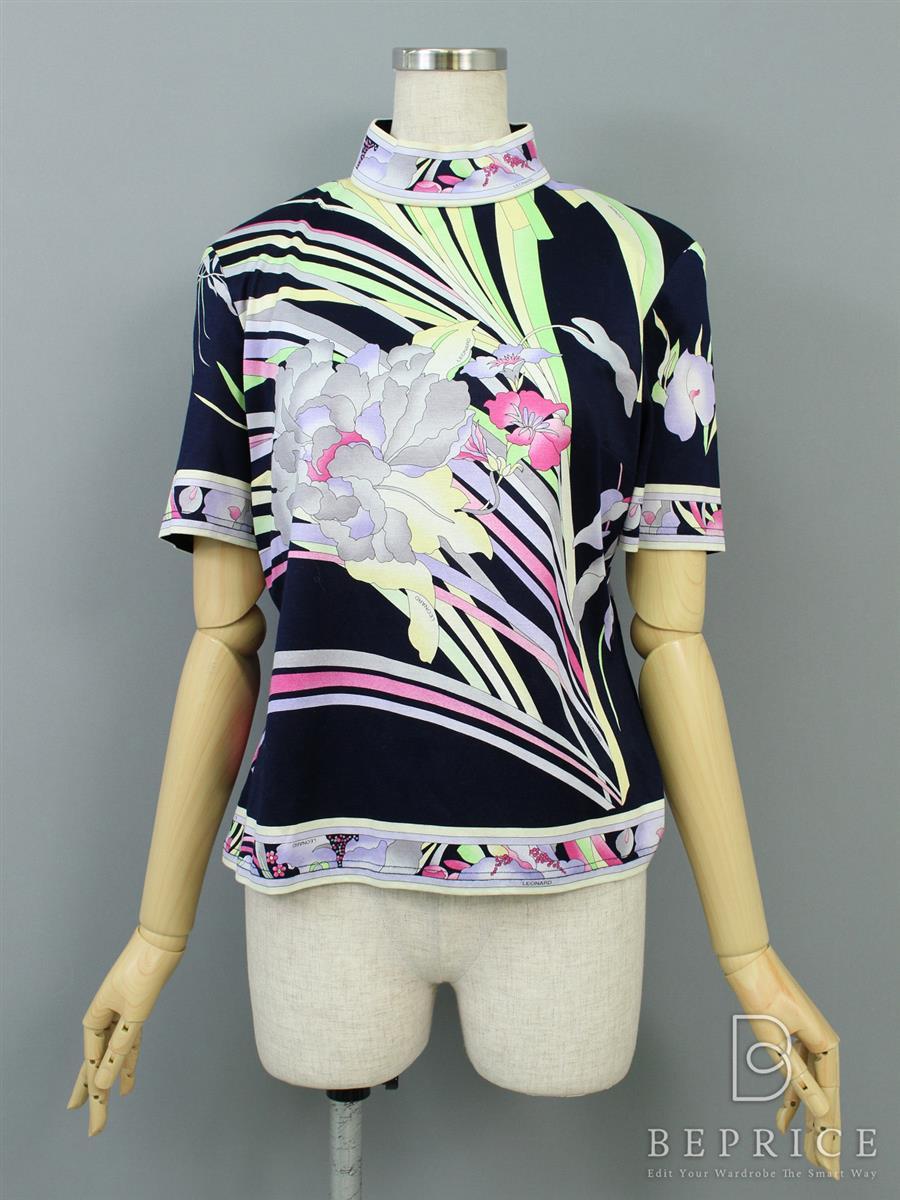 レオナール 半袖Tシャツ 花柄 バックジップアップ