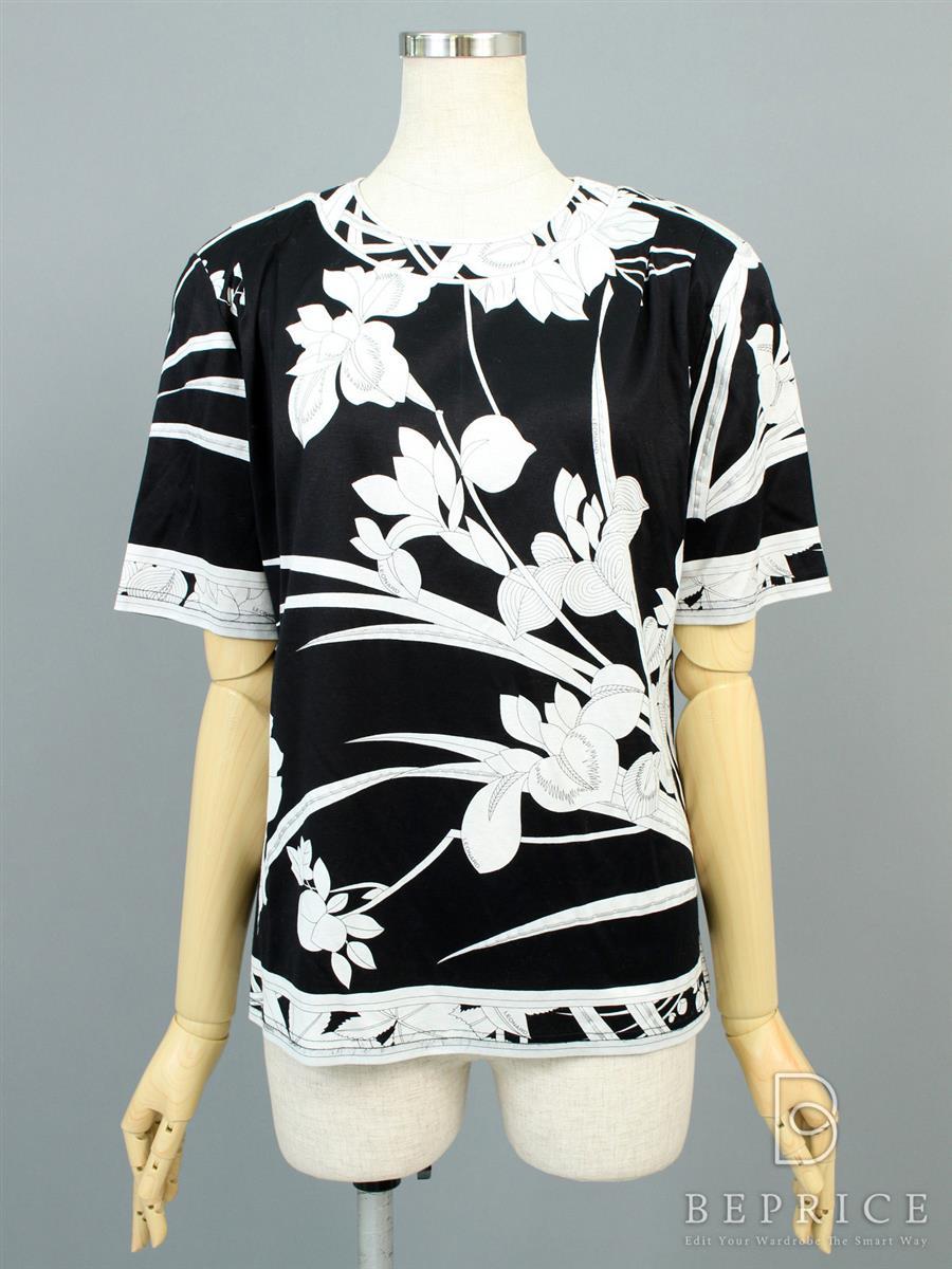 レオナール 半袖カットソー 花柄 ブラック