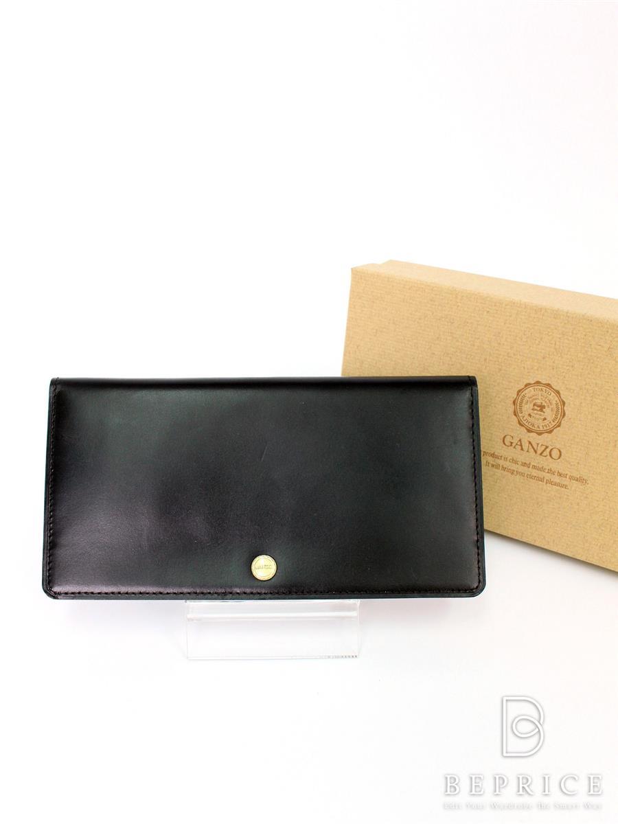 ガンゾ 財布 ガンゾ シンブライドルコンパクト長財布 内チャック押し跡あり 57212
