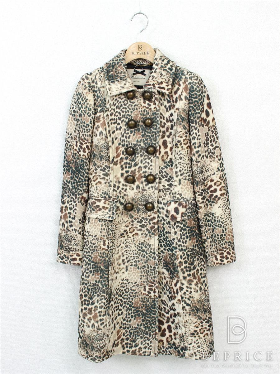 コート 衿付 レオパード柄