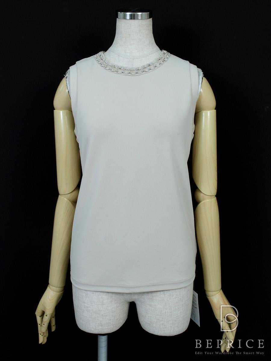 フォクシーニューヨーク Tシャツ カットソー トップス ノースリーブ アラベスク 汚れ糸ツレあり 30189