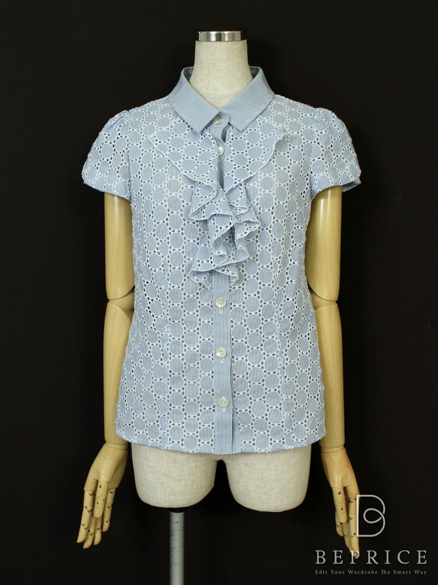 エムズグレイシー シャツ ブラウス シャツ 半袖 ストライプ 薄脇シミあり