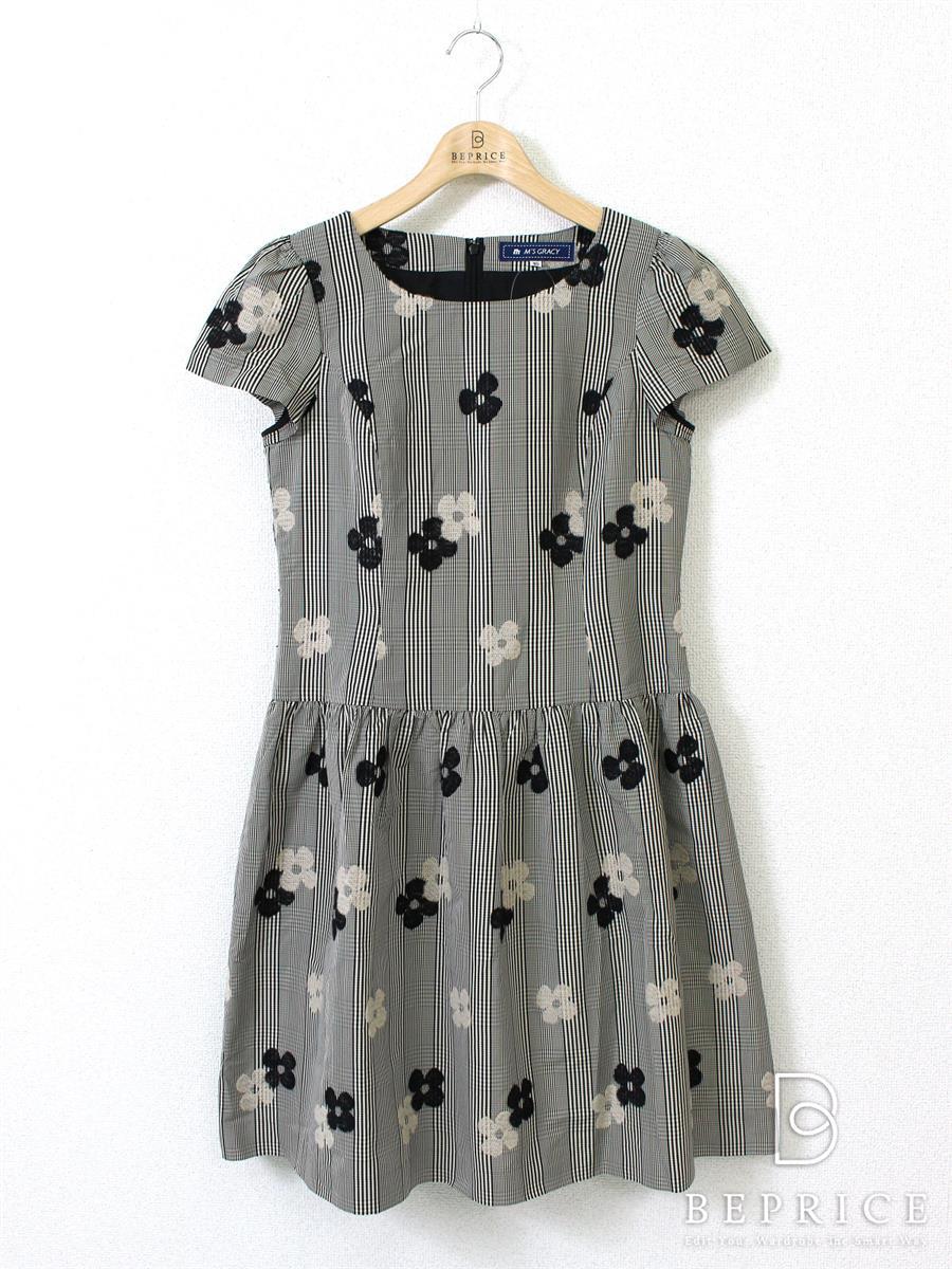 エムズグレイシー ワンピース 半袖 チェック 花柄刺繍