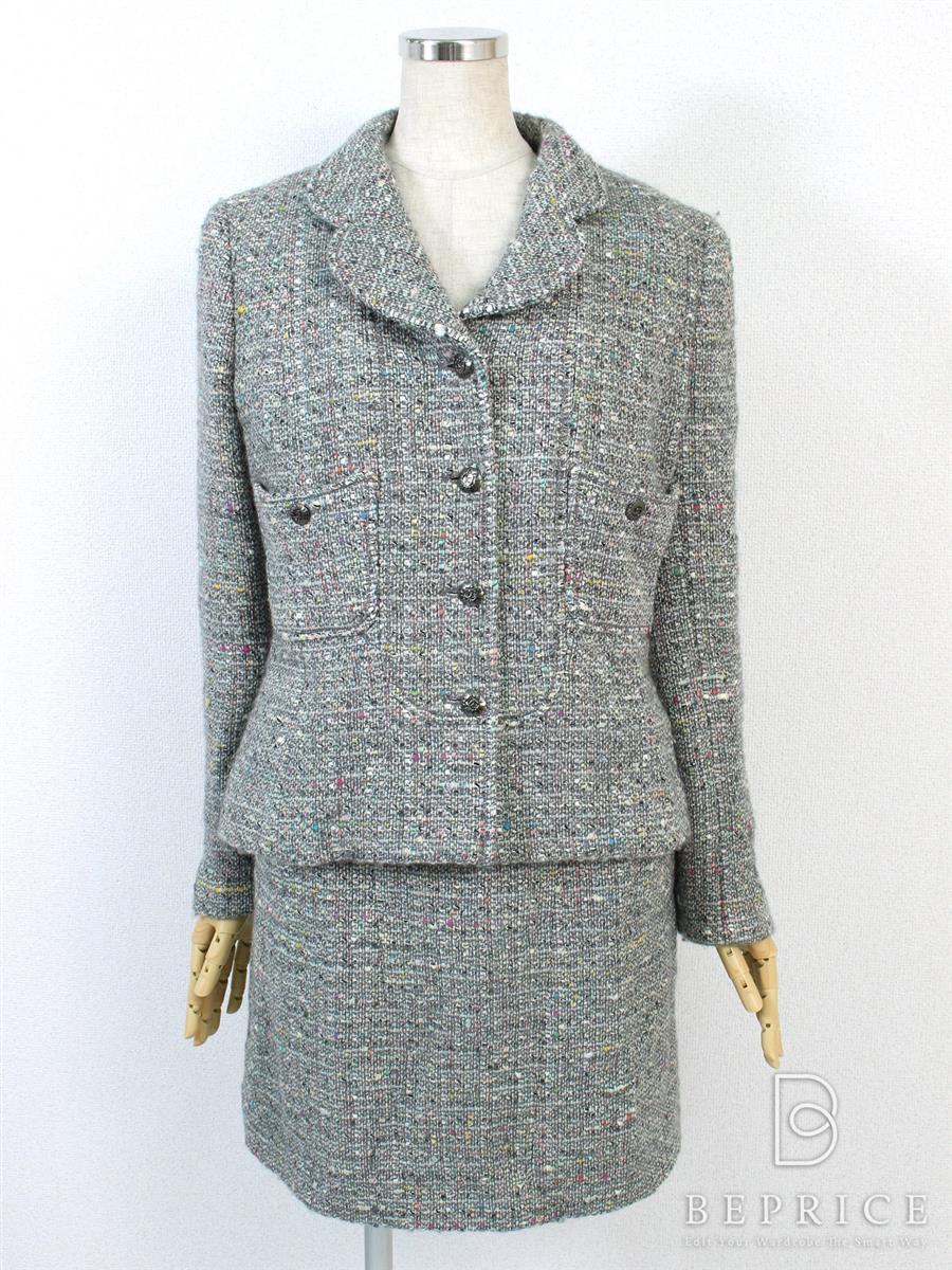 シャネル スカートスーツ スーツ スカート ジャケット ツイード