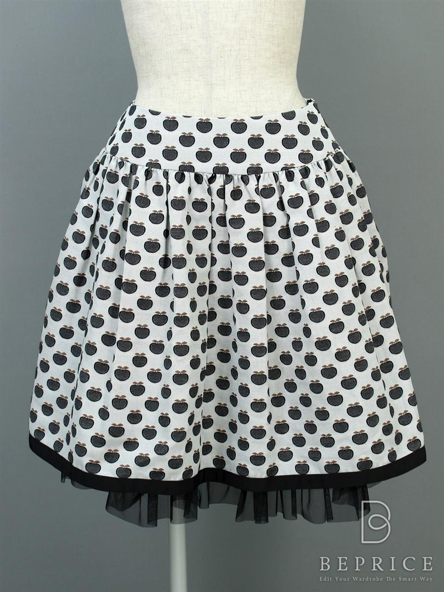 エムズグレイシー スカート スカート フレアー 裾レース アップル柄