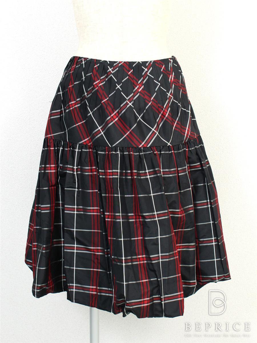 ルネ スカート スカート チェック柄 バルーン シルク100% 生地ヨレあり