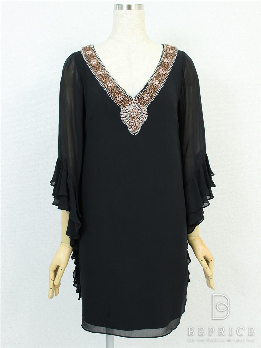 グレースコンチネンタル ワンピース ワンピース 長袖 裾フリル ビーズ ドレス