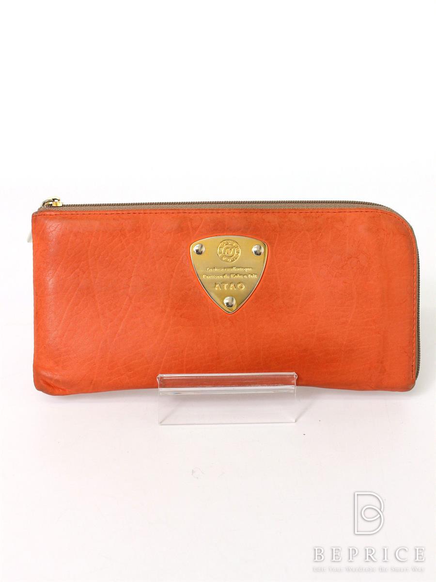 アタオ 財布 ATAO アタオ 長財布 ラウンドファスナー 角擦れ・汚れ・レシート印字うつりあり