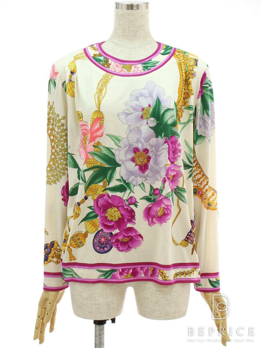 Tシャツ カットソー 長袖 花柄 アイボリー