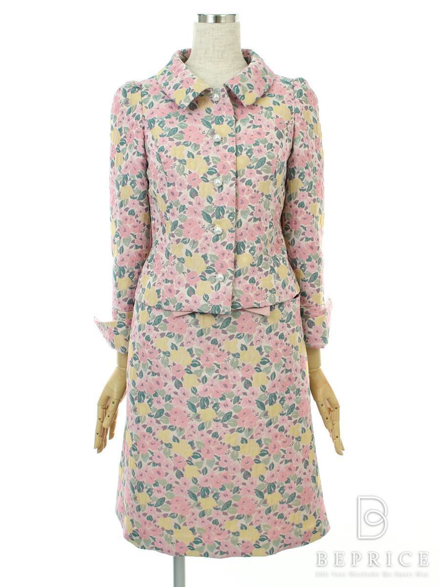 エムズグレイシー セットアップ セットアップ ジャケット スカート 花柄 ジャガード織