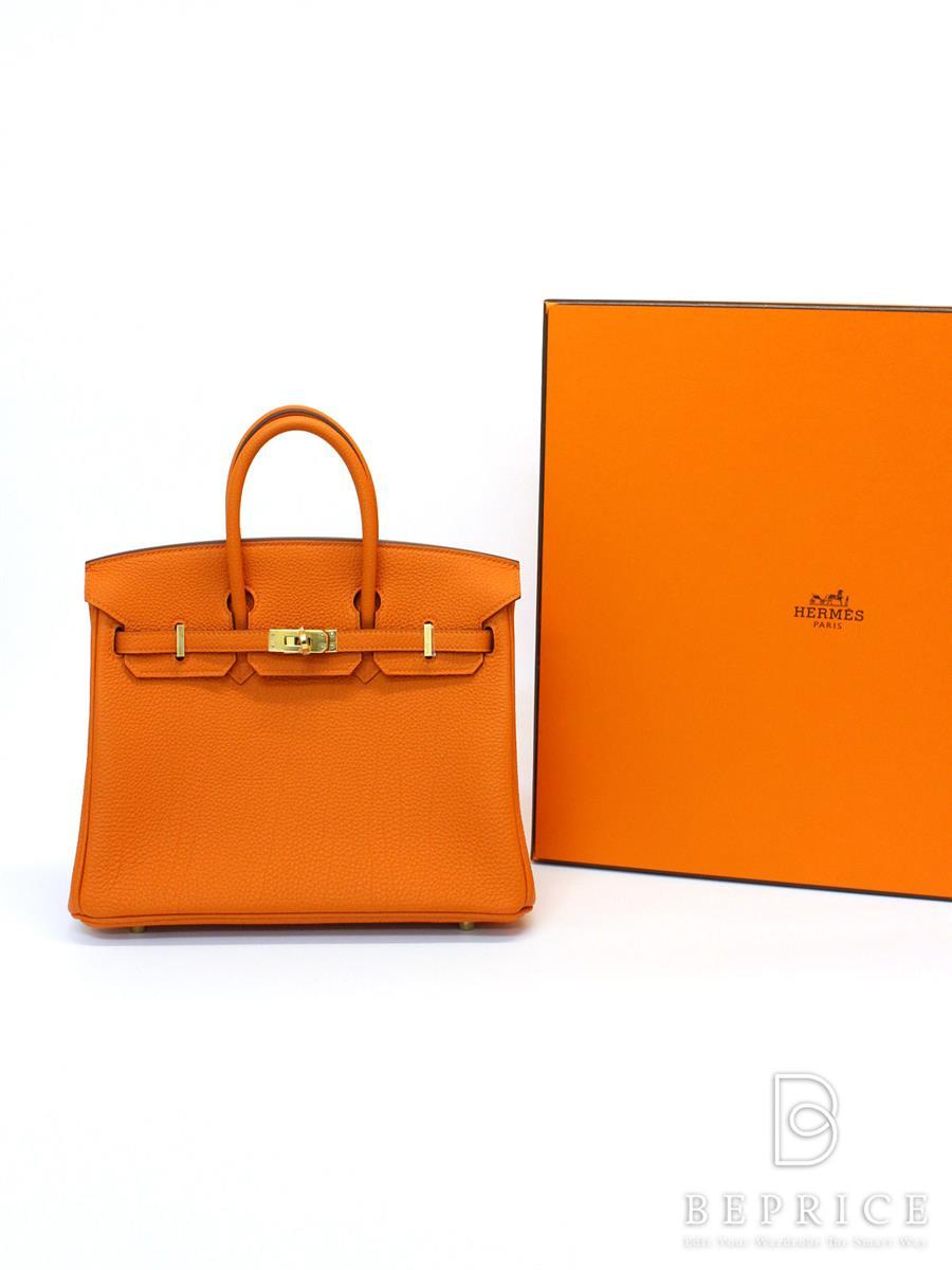 エルメス ハンドバッグ バーキン25 トゴ ゴールド金具 オレンジ