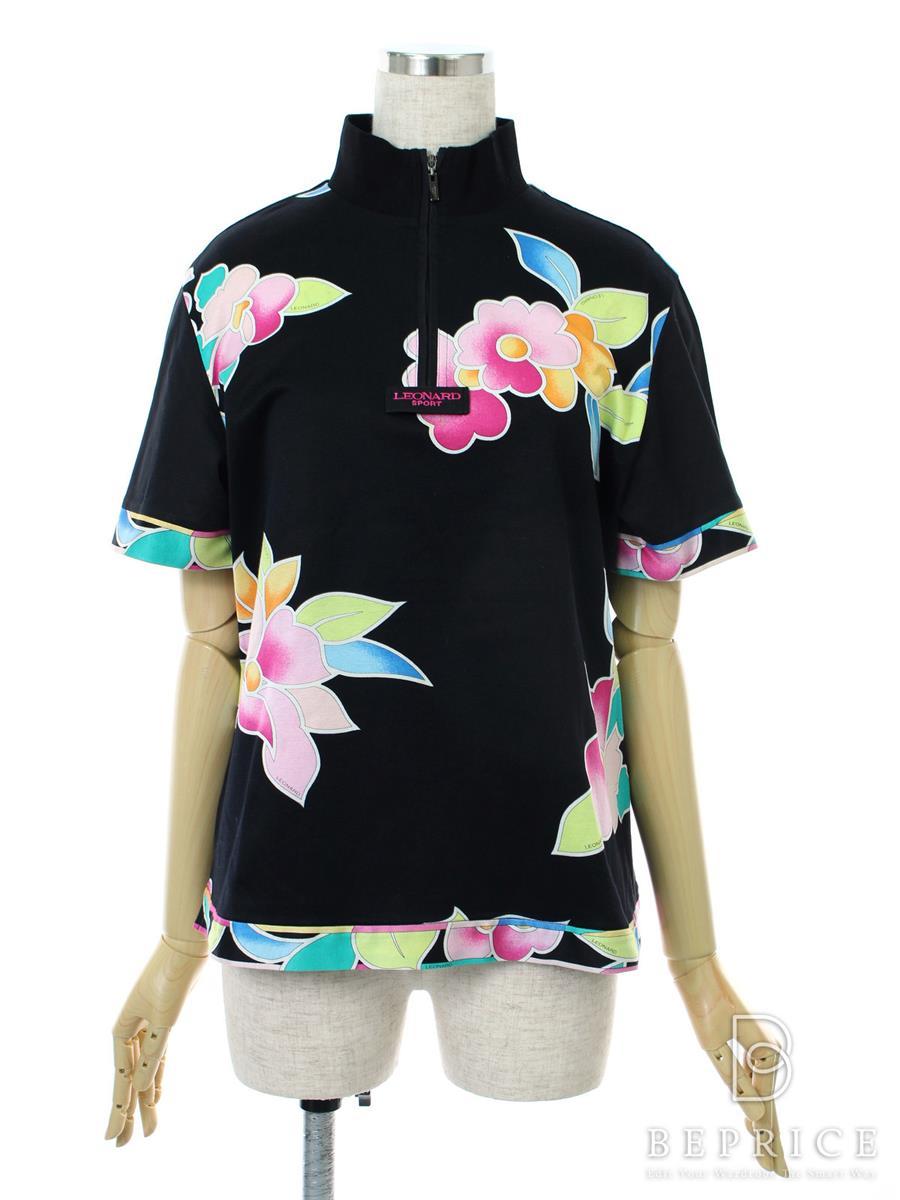 レオナール ジップカットソー 半袖 花柄