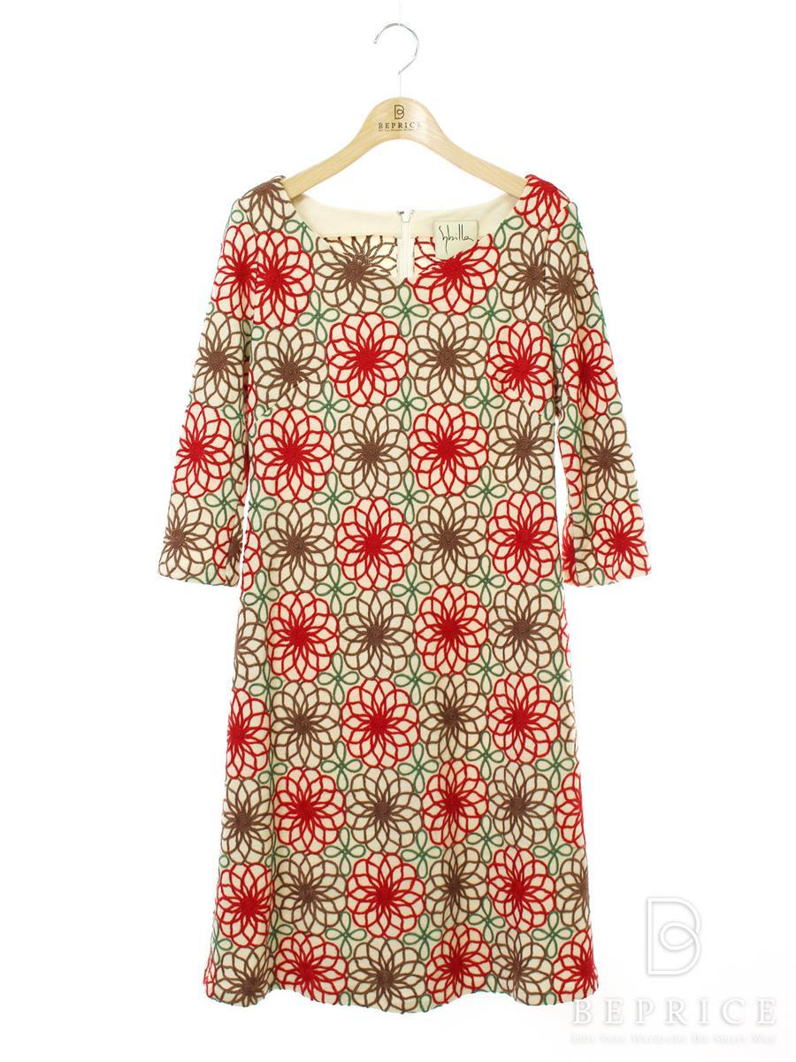 シビラ ワンピース 長袖 花柄 刺繍